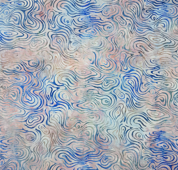 Batik, swirls on pink and blue