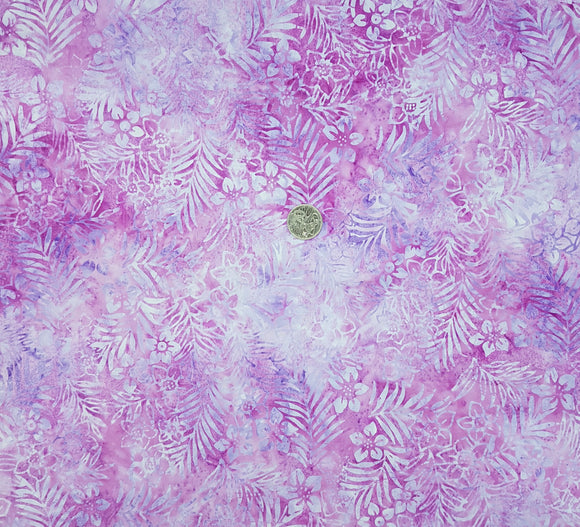 Batik, purple floral on pink