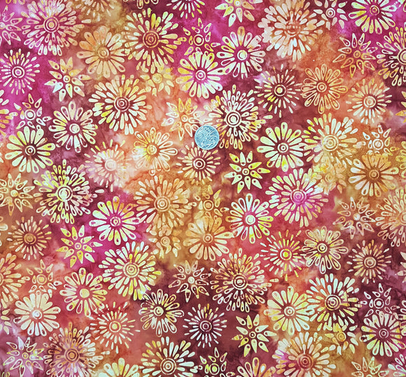 Batik, yellow floral on orange, red, pink