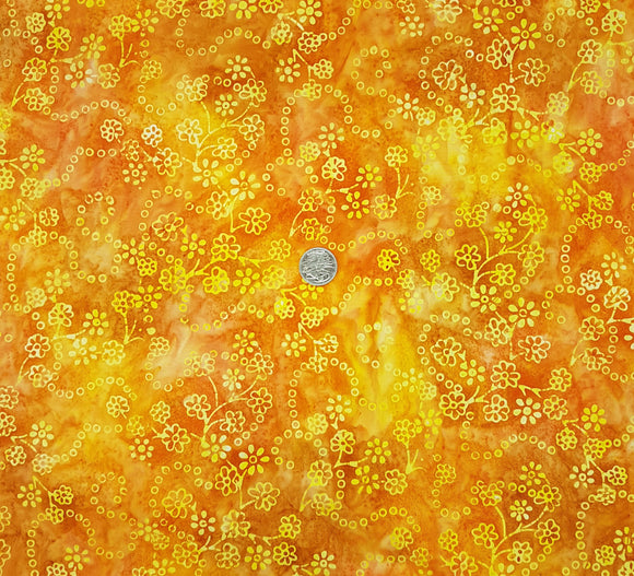 Batik, yellow floral outline on orange