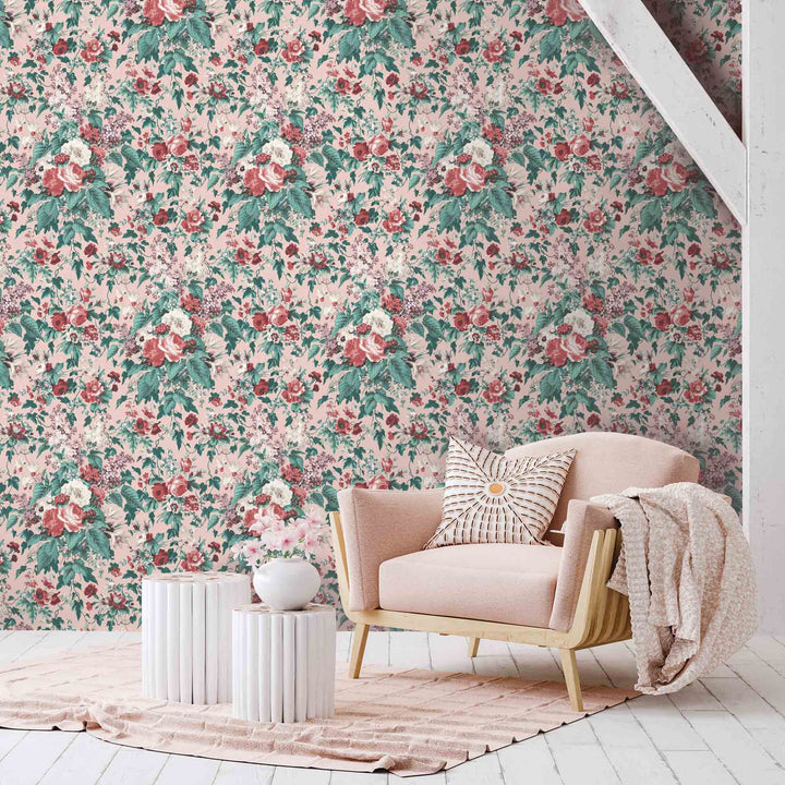 https:/Faded glamour pretty pink floral wallpaper