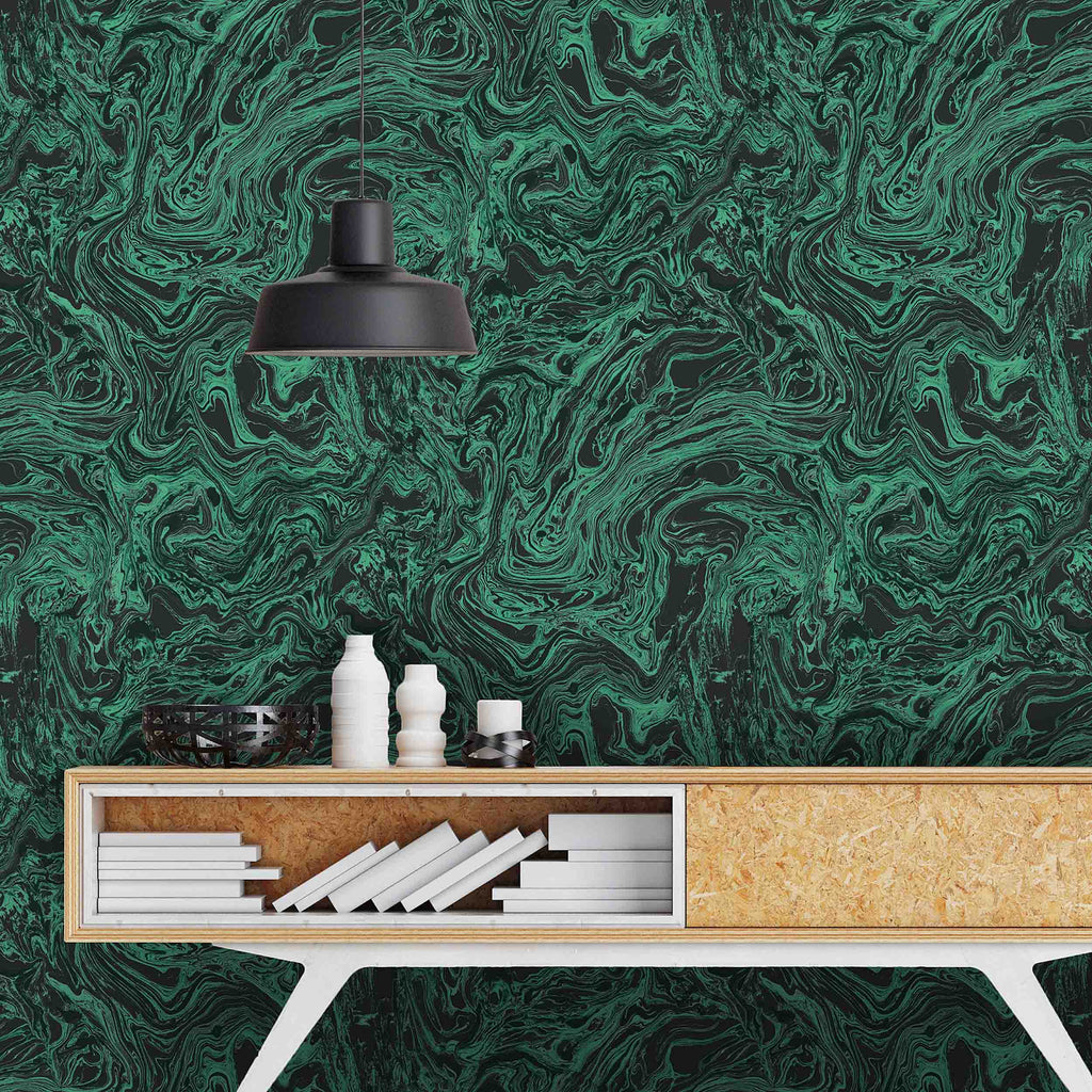 flow malachite marble effect wallpaper by Woodchip & Magnolia