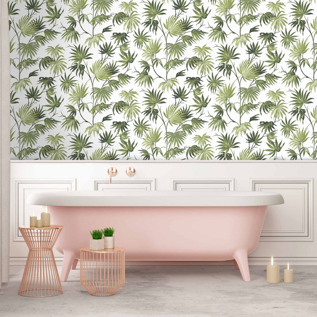 Va Va Frome Meadow Green  Botanical Wallpaper By Pearl Lowe