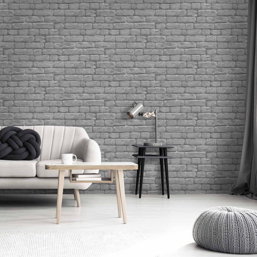 Charcoal Grey Brick Effect Wallpaper