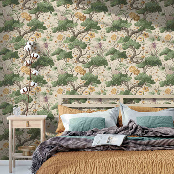 Crane Bird Buttercup Yellow/Cream Wallpaper