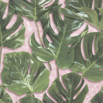 Monstera Green & Blush Velvet