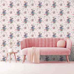 Violas and Butterflies in Pink Wallpaper