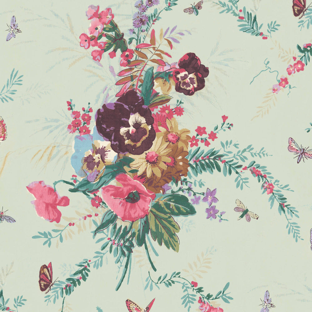 Violas and Butterflies in Mint Wallpaper
