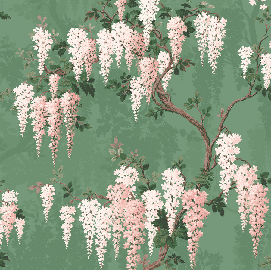 Wisteria Botanical Green Wall Mural