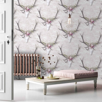 George Stag Head Floral Wallpaper by Woodchip & Magnolia