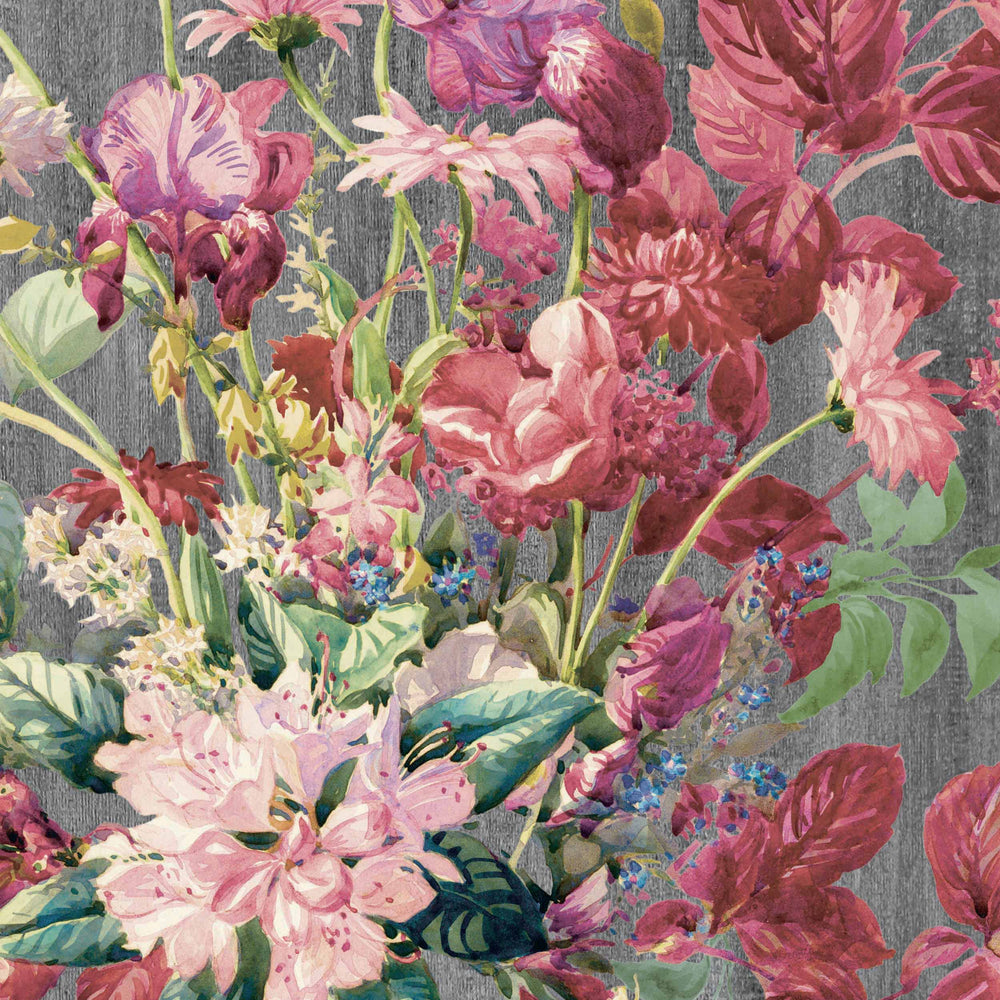 Eunoia Watercolour Floral Wallpaper in Grey/Pink