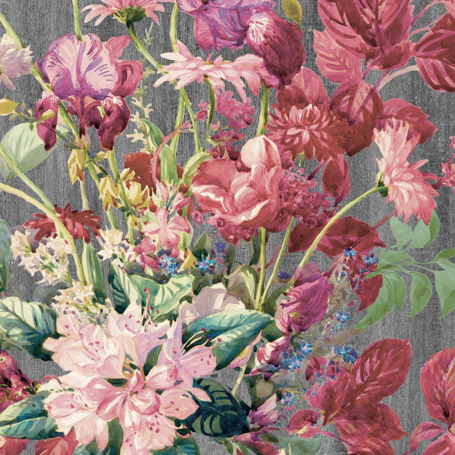 'Eunoia' Watercolour Floral Wallpaper - Grey/Pink​