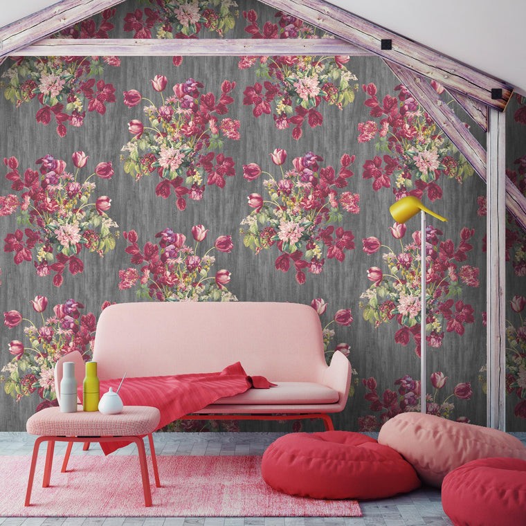 Eunoia Grey & Pink Floral Wallpaper
