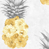 Ludic Floral Pineapple Feature Wallpaper in Grey and Yellow