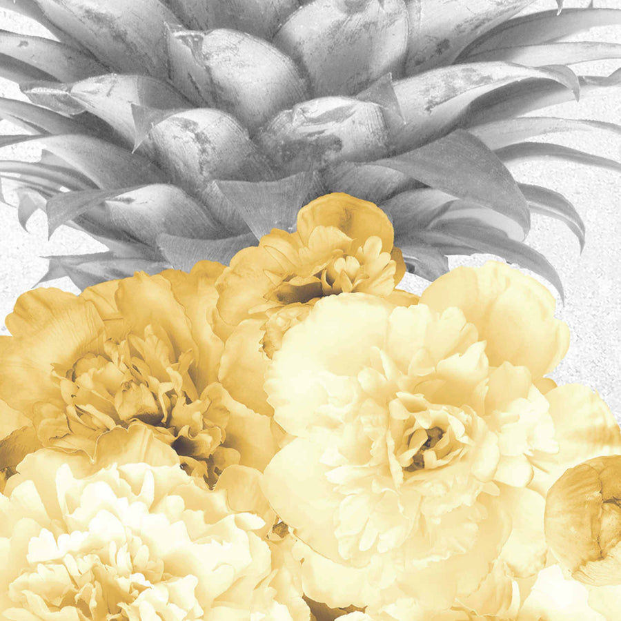 Floral Pineapple Feature Wallpaper in Grey and Yellow