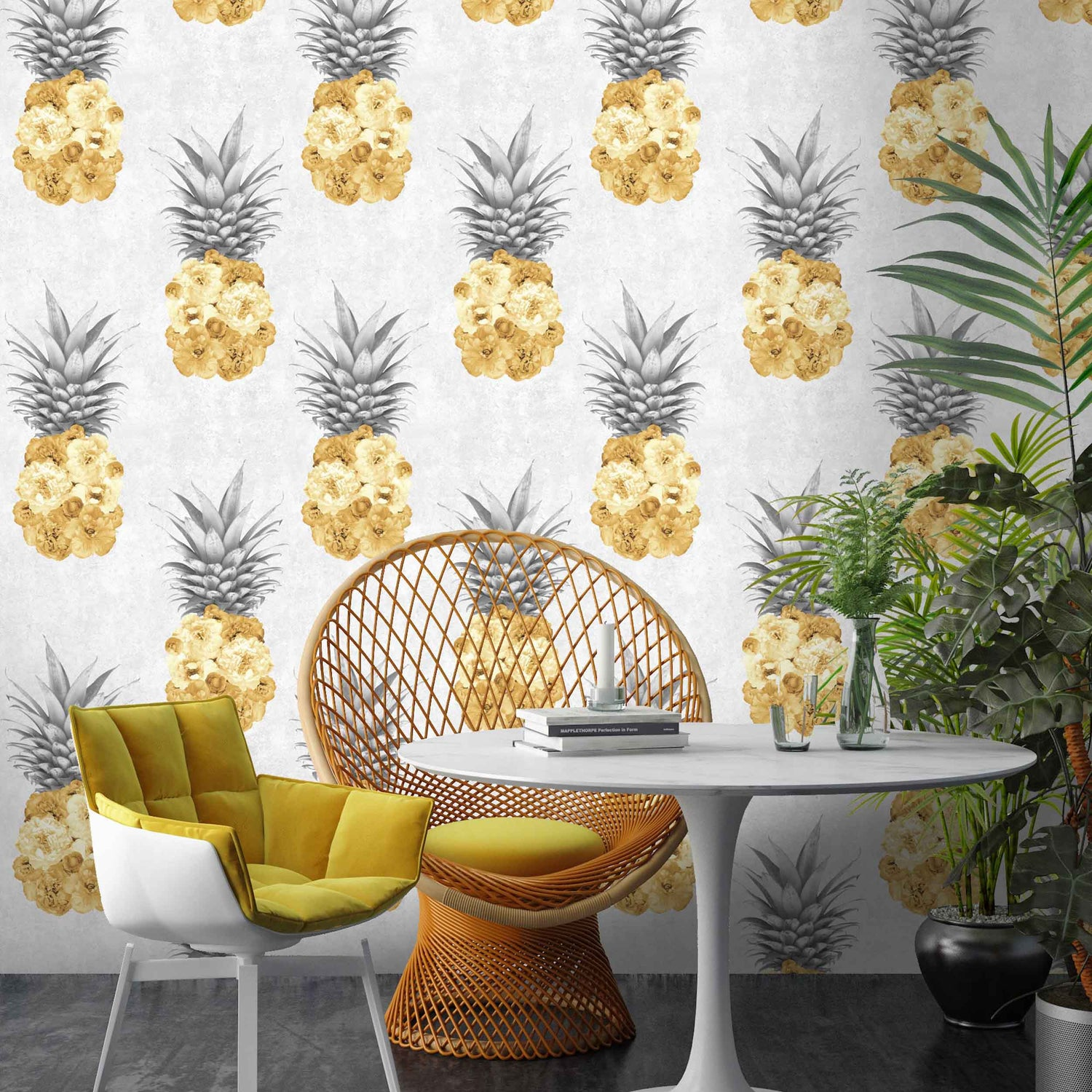 Aliexpress Com Buy High Quality Thick Flocked Modern: Grey And Yellow Wallpaper Living Room