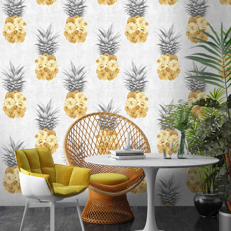 Ludic Yellow Pineapple Wallpaper