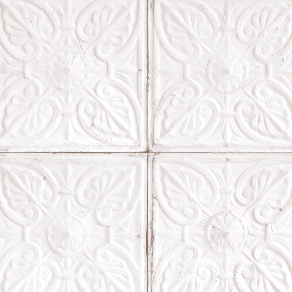 White wallpaper woodchip magnolia - American tin tiles wallpaper ...