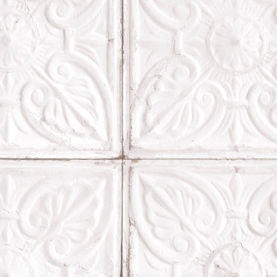 Tin Tile in White Wallpaper by Woodchip & Magnolia