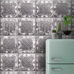 Tin Tile Charcoal Wallpaper