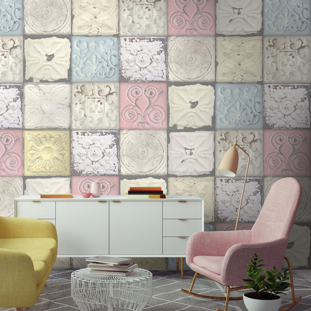 Pastel tin tile wallpaper by woodchip magnolia - American tin tiles wallpaper ...