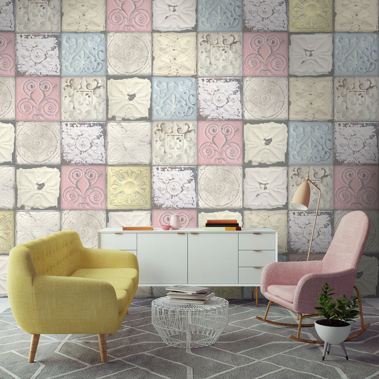 Pastel Tin Tile Wallpaper