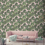 Monstera Green & Blush Wallpaper
