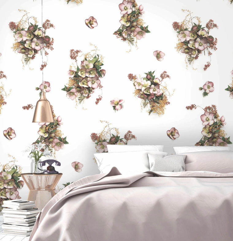 Hellebore Floral Wallpaper