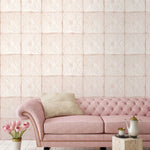 Tin Tile Blush Wallpaper