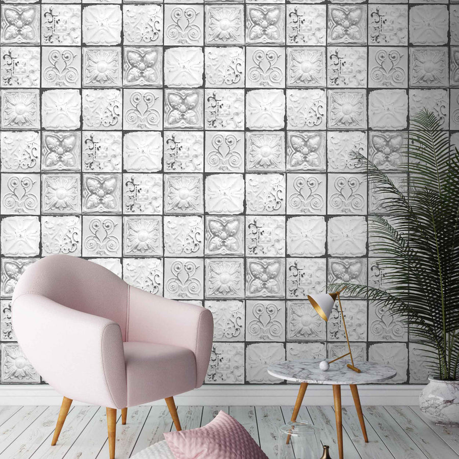 Tin Tiles Monochrome by Woodchip & Magnolia