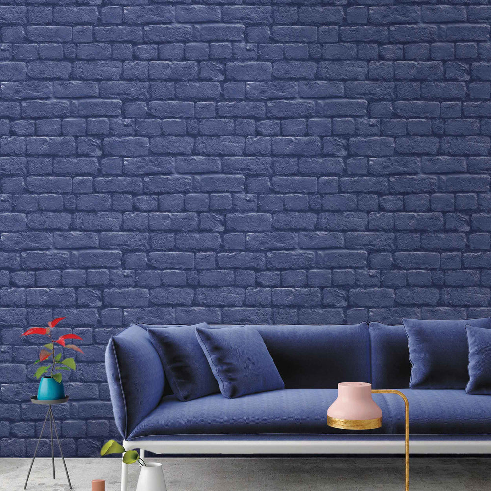 Blue Brick Effect Wallpaper