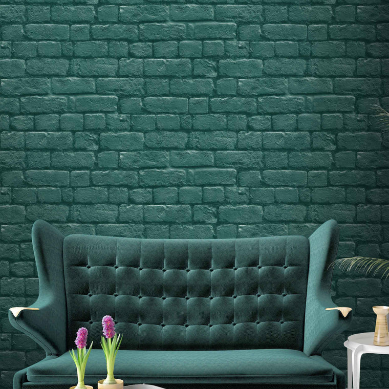 Deep Green Brick Effect Wallpaper