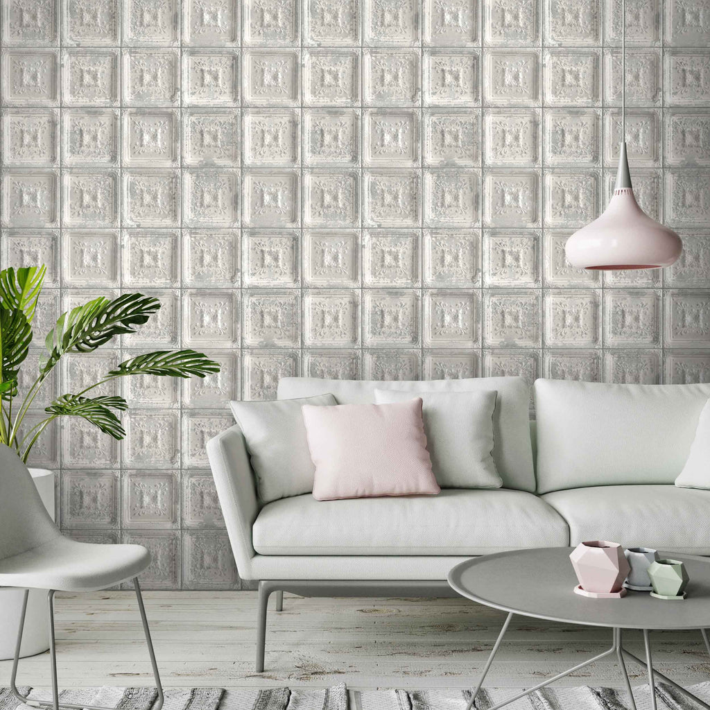 Waverly Tin Tiles Wallpaper In Grey by Woodchip & Magnolia