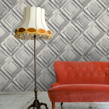 Gramercy Tin Tiles Wallpaper In Grey By Woodchip & Magnolia