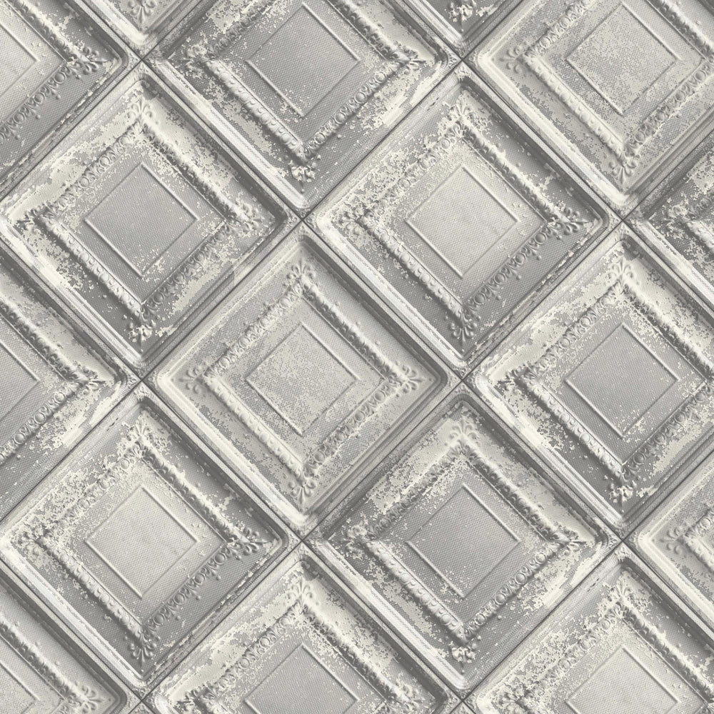 Gramercy Tin Tiles Wallpaper In Grey By Argent & Ink