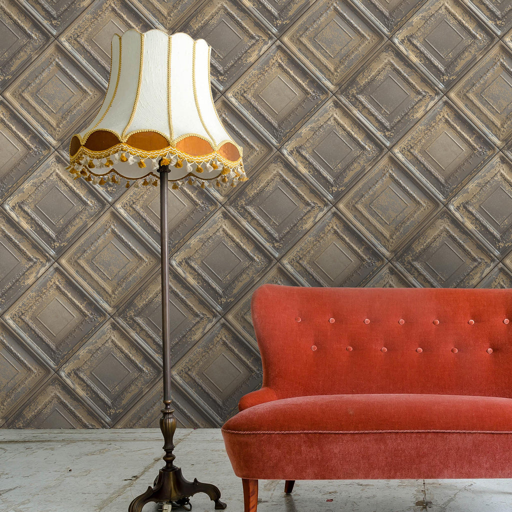Gramercy Tin Tiles Feature Wall Wallpaper - Tobacco by Argent & Ink