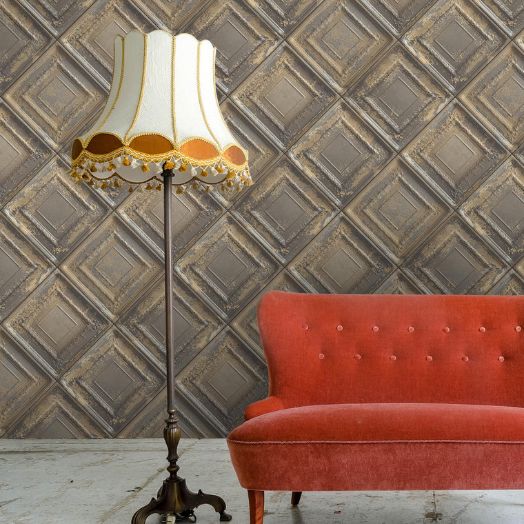 Gramercy Tin Tiles Feature Wall Wallpaper - Tobacco