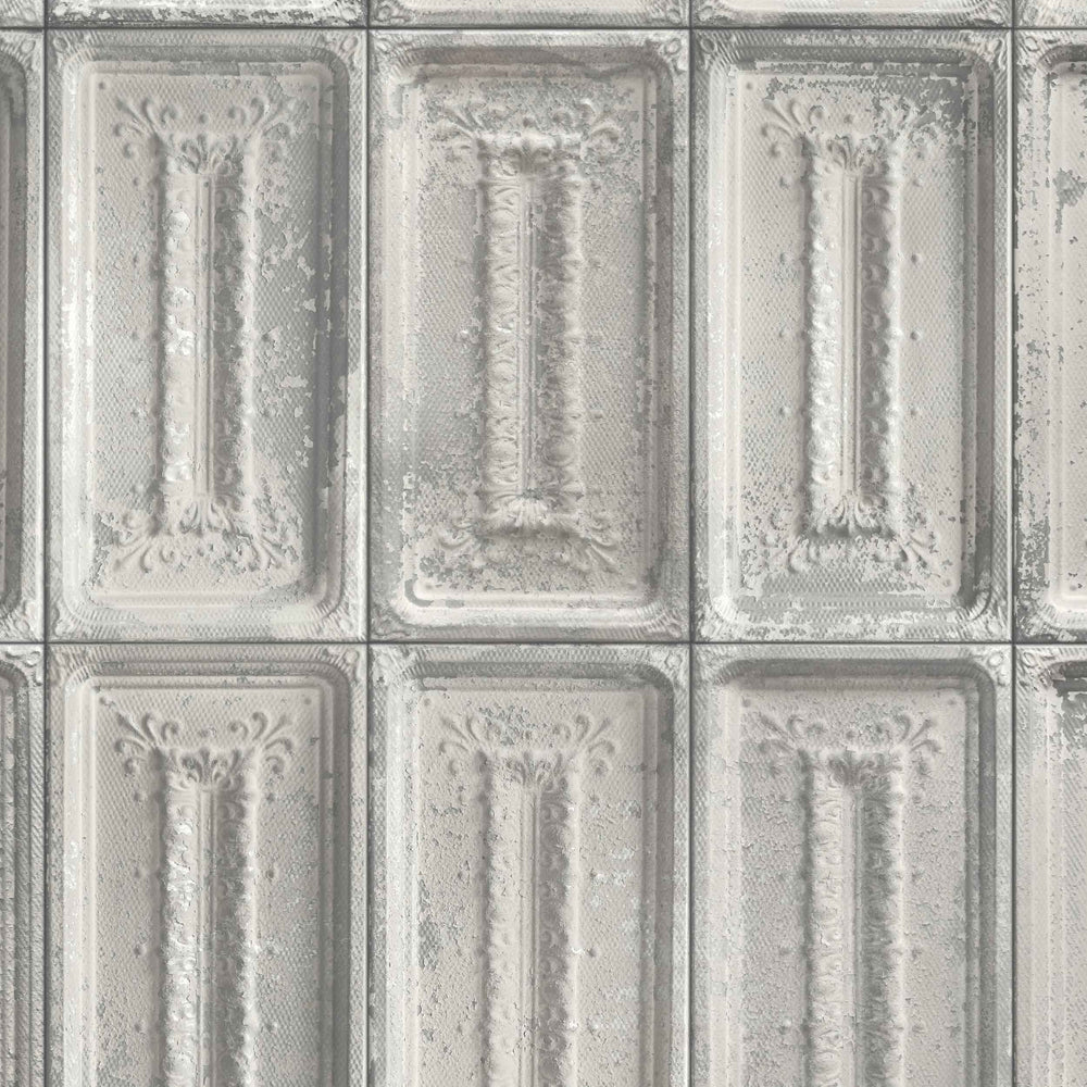 Lex grey tin tile effect wallpaper by woodchip magnolia - American tin tiles wallpaper ...