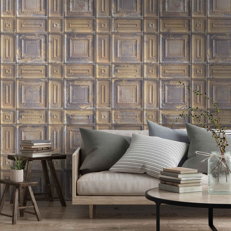 Delancey Tin Tile effect wallpaper - Tobacco