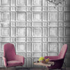 Delancey Tin Tiles Feature Wallpaper In Grey by Woodchip & Magnolia