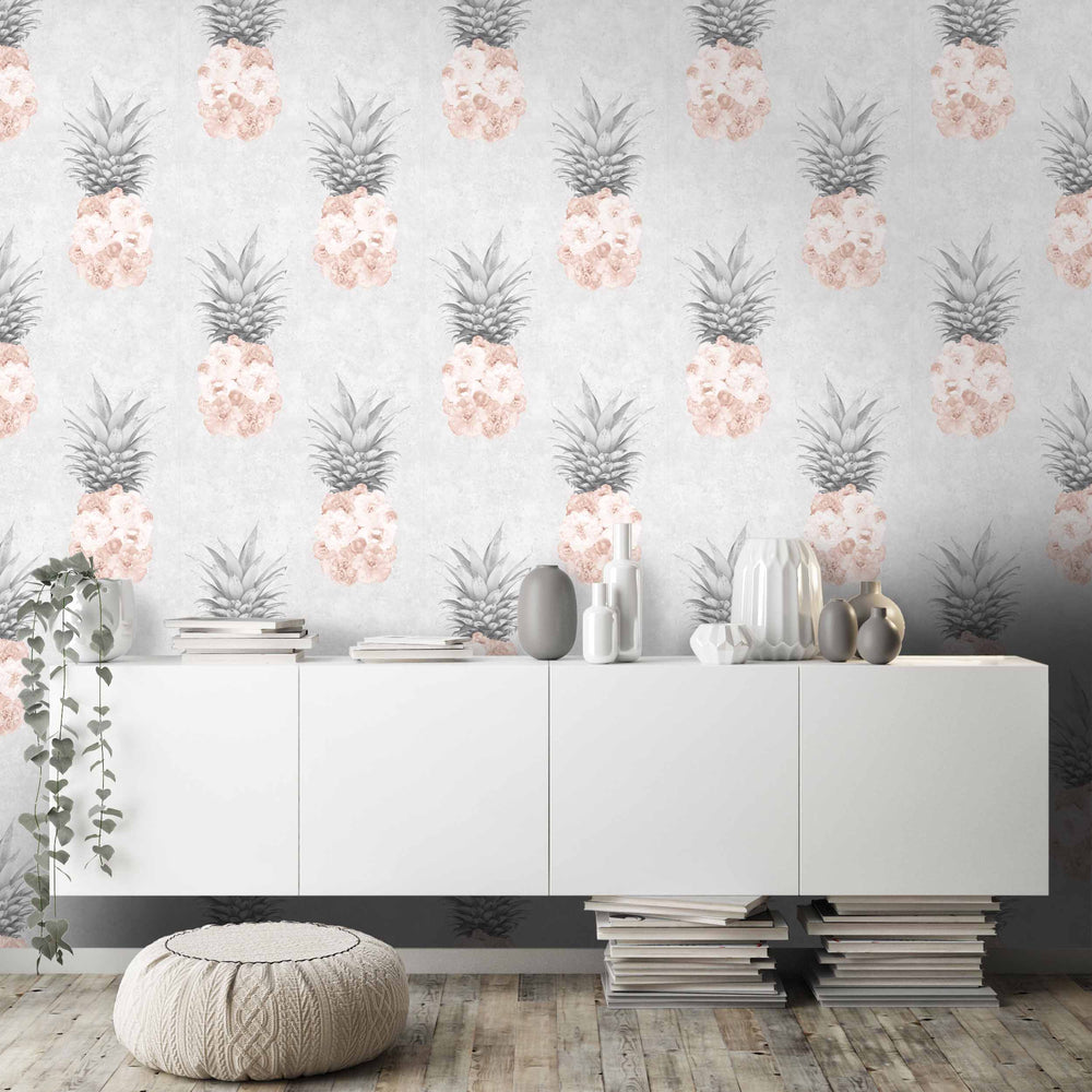 Ludic Blush Pink Pineapple Wallpaper