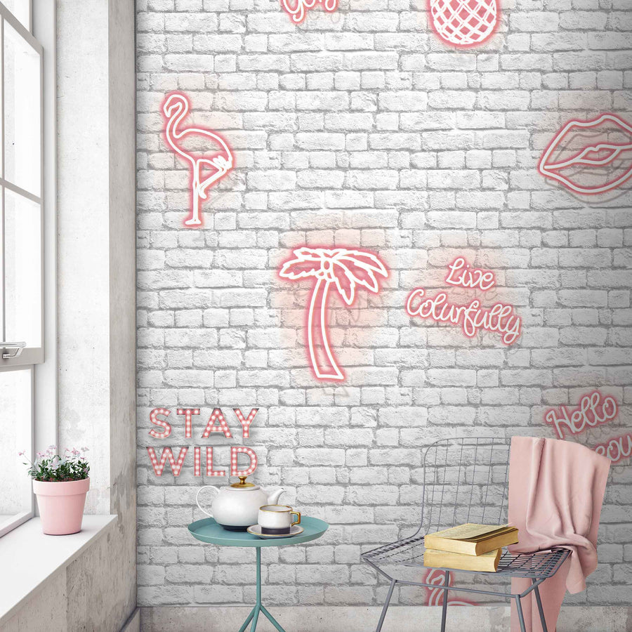 'Stay Wild' Pink neon effect wallpaper