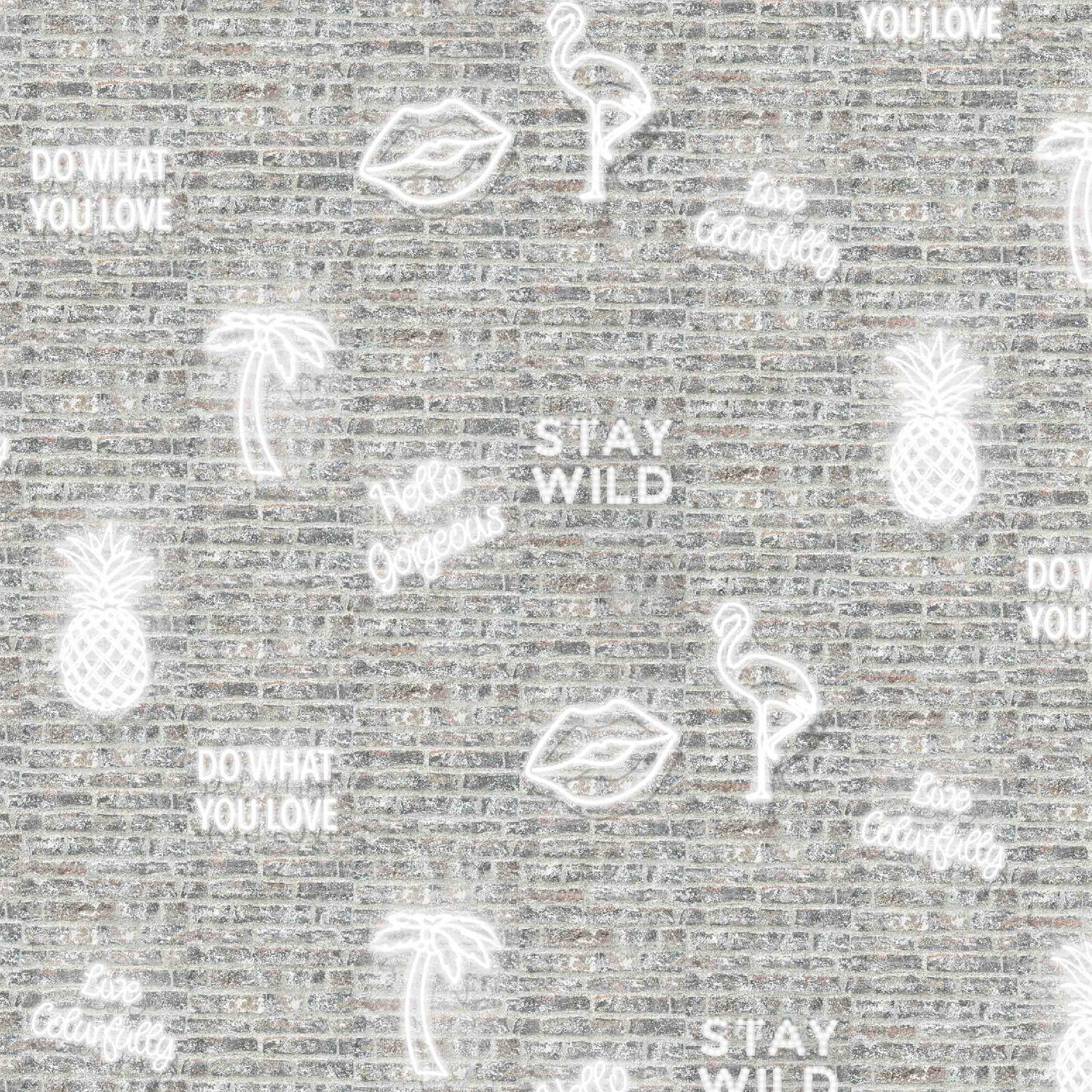 'Stay Wild' white neon effect wallpaper