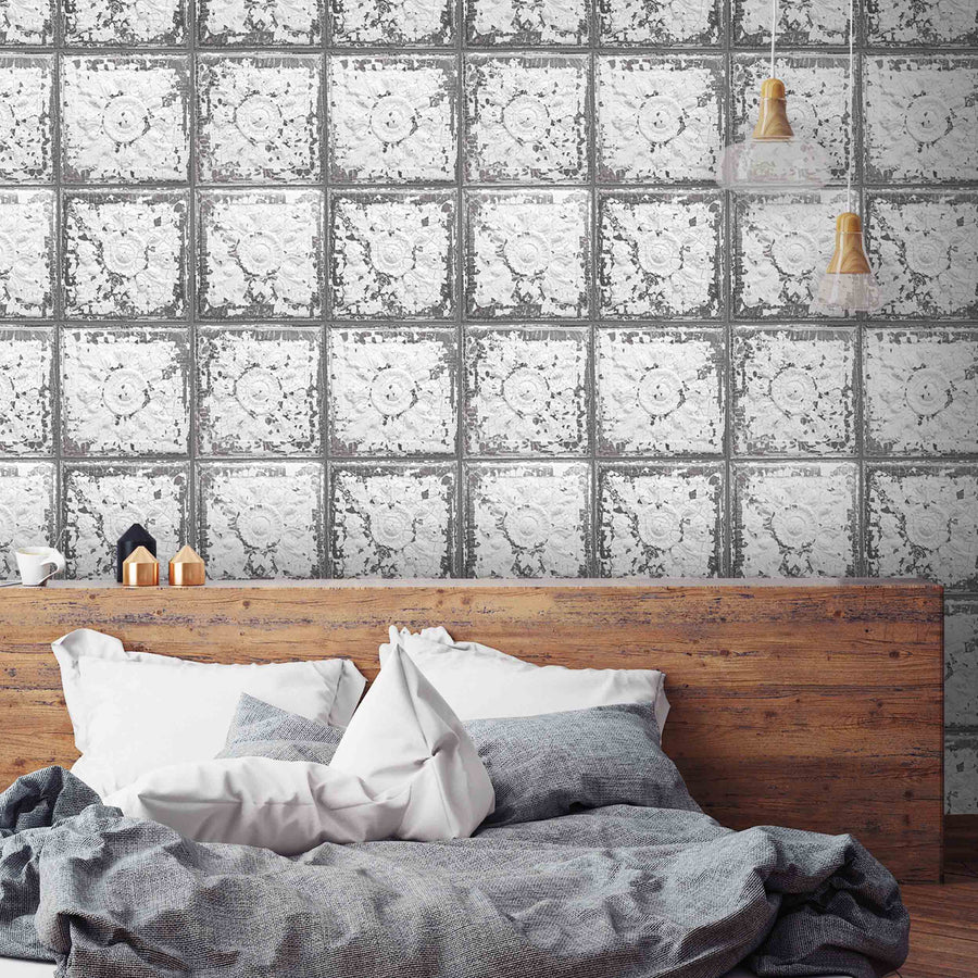 Cracked Tin Tile Wallpaper By Woodchip & Magnolia