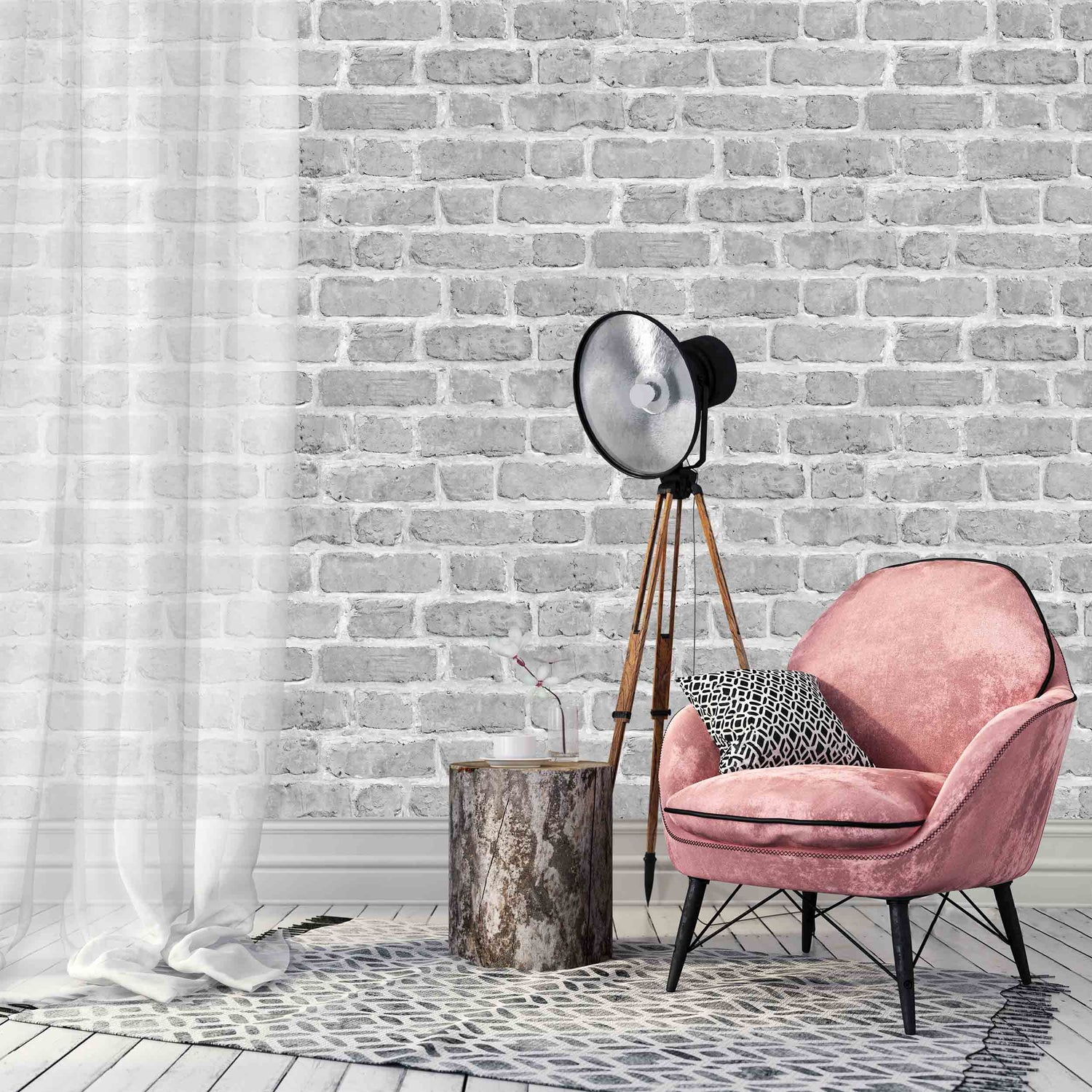Grey Brick Effect Wallpaper by Argent & Ink