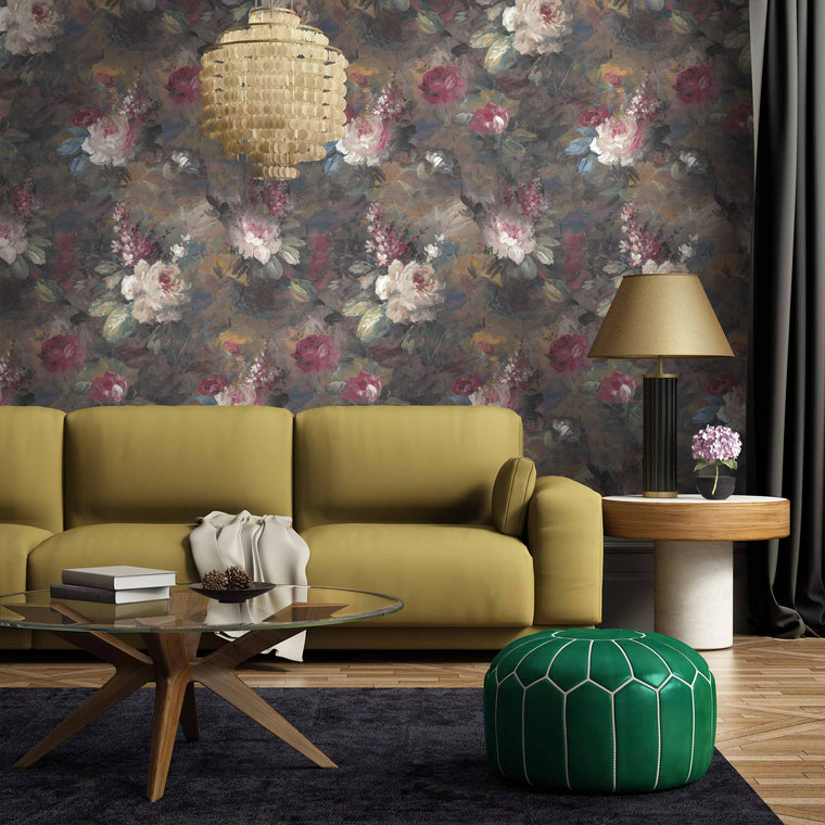 Ava Marika Floral Wallpaper Supersized Moody