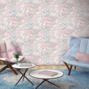 Flow Blush & Teal Marbled Effect Wallpaper by Woodchip & Magnolia