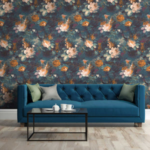 Ava Marika Supersized Teal & Orange Floral Wallpaper