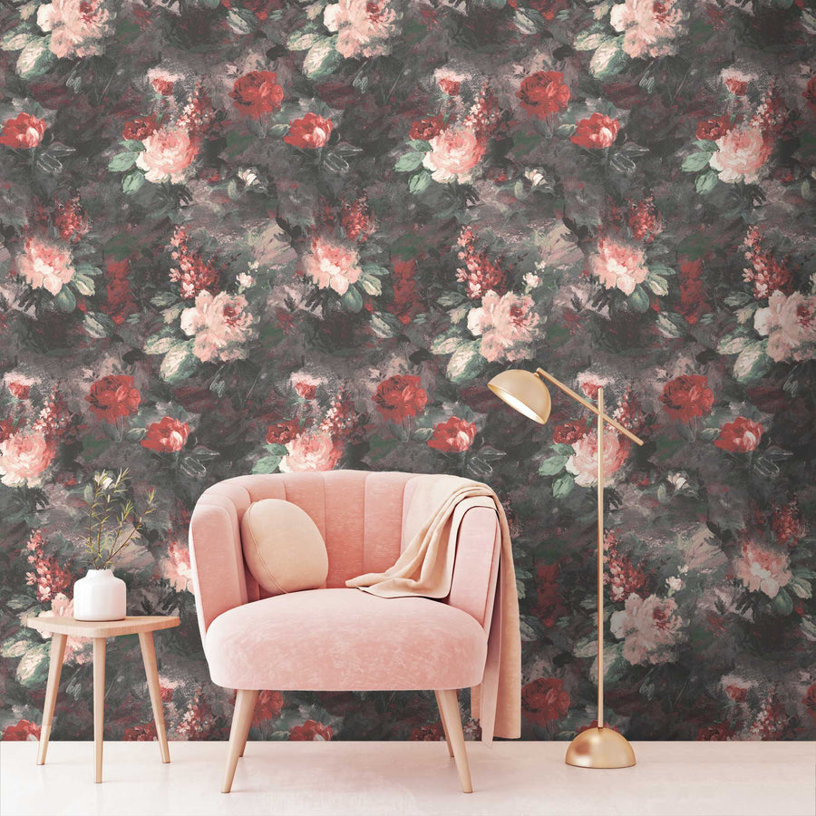 Ava Marika Blush/Rouge Floral Wallpaper