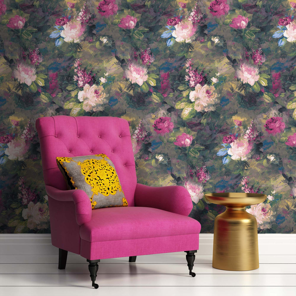 Ava Marika Supersized Electric Floral Wallpaper